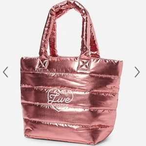 NWT Justice Metallic quilted tote bag